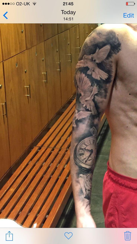 Doves tattoo sleeve pocket watch