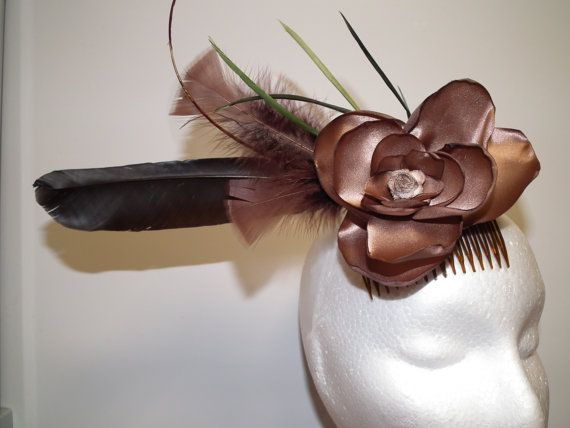 Statement Made .. Brown Black Sage Green by WattMillineryBling, $89.00 SATIN SCULPTURED PETALS natural  feature feather &  dyed feather assrtment .. MAKE A STATEMENT AT THE RACES !