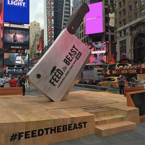 """AMC """"Feed The Beast"""" TV Show put up a 16ft meat cleaver and butcher block in Times Square NYC! And since we couldn't make it out, they also sent a surprise press kit over - a meat cleaver and corkscrew in a laser etched wood box."""