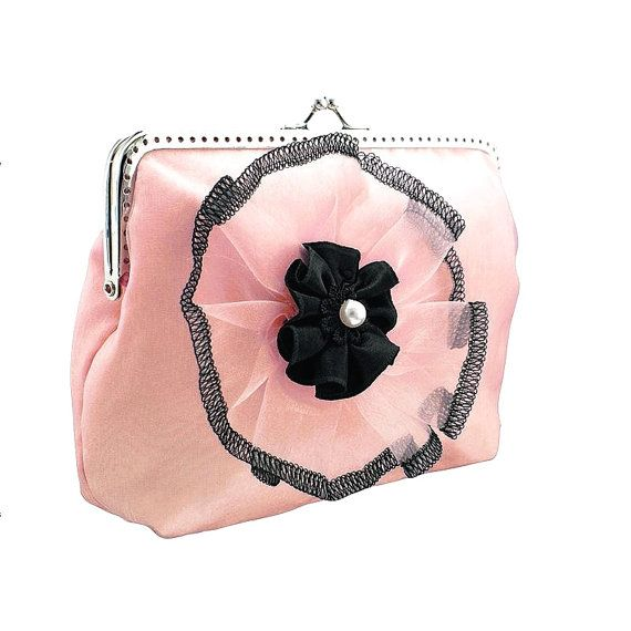 pink and black frame clutch bag in glamour  by FashionForWomen