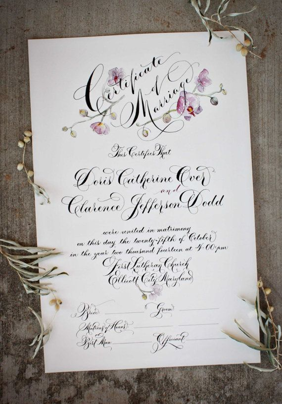 Custom Marriage Certificate by eDanae on Etsy