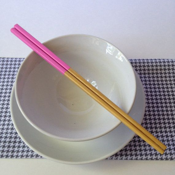 Peonie Pink Handpainted Bamboo Chopsticks by 1981Collective