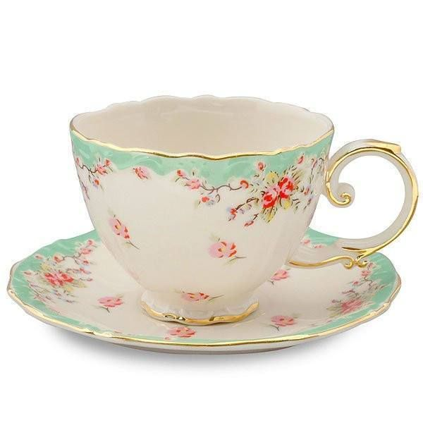 2 Vintage Green Rose Porcelain Teacups and Saucers (2 Tea Cups & 2 Saucers)
