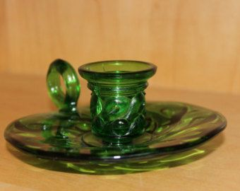 Forest Green candle holder with finger loop-dot and swirl