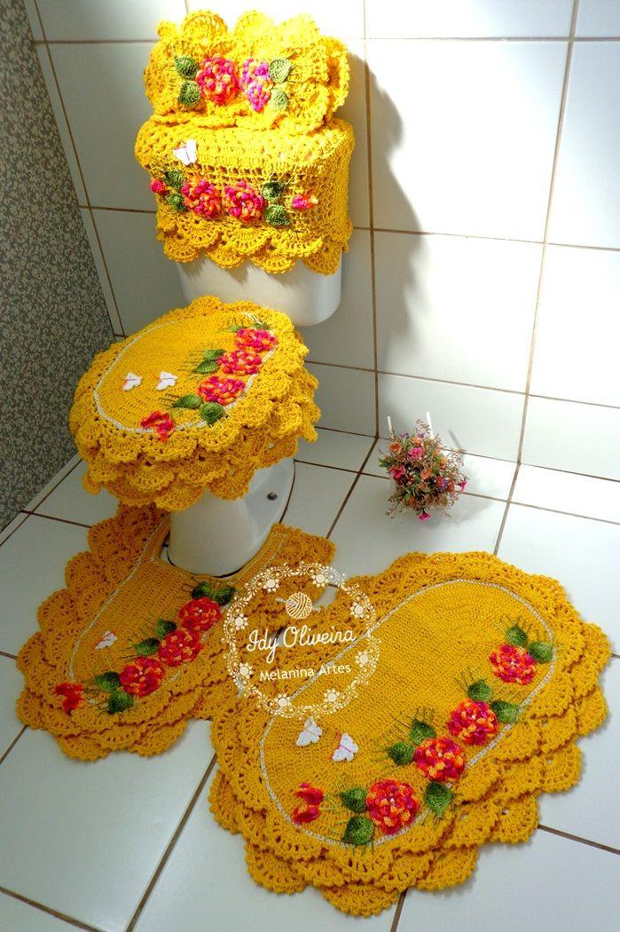 Jogo de banheiro rendado em croche
