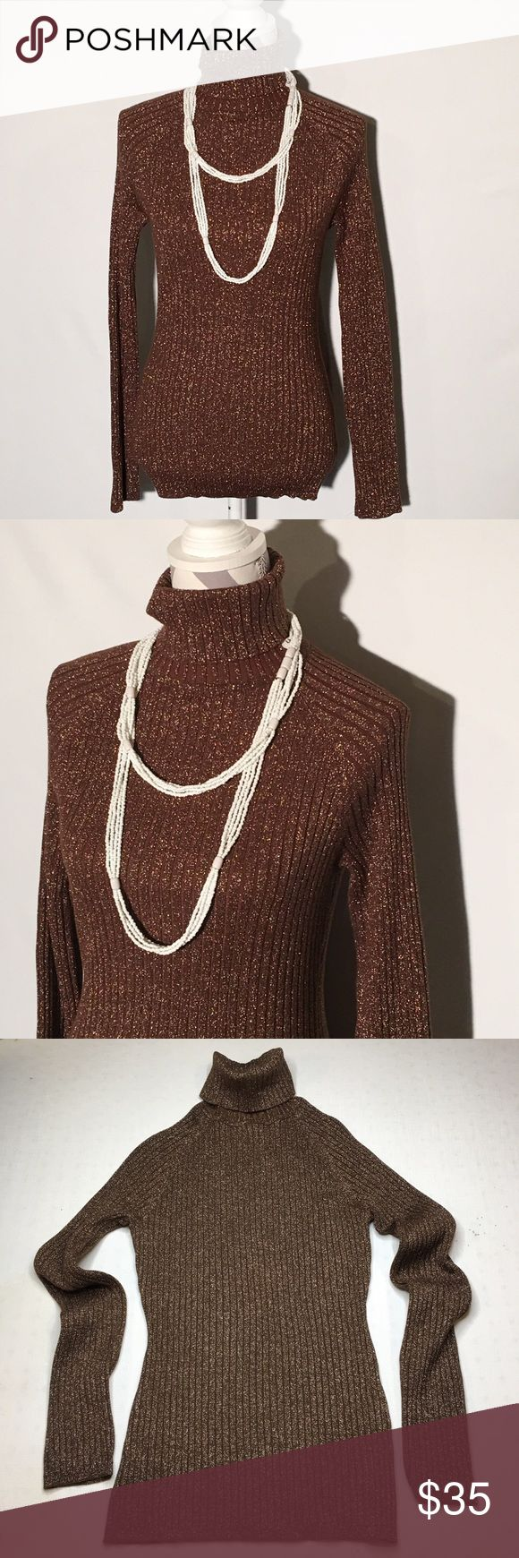 INC Brown sparkle women's turtleneck sweater INC, Size is large  61% Rayon,15% Polyester, 7% Nylon, 17% Metallic, 7% Spandex, Pretty brown Color & Small Tiny Gold Sparkles Sweater, The Color is More Gold  in Real Life,  In Excellent Condition. Only worn once. INC International Concepts Sweaters Cowl & Turtlenecks