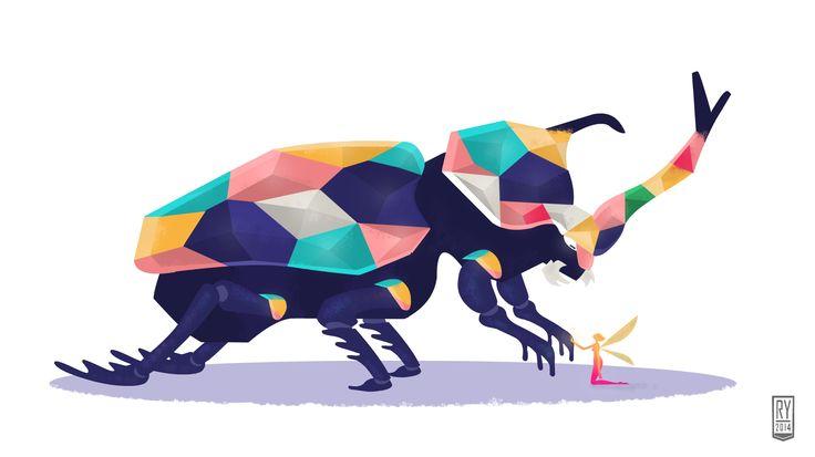 """Exoskele-stone"" #art #artwork #illustration #doodle #drawing. #draw #vector #beetle #bug. #jewel #fairy #color #strange #artph"