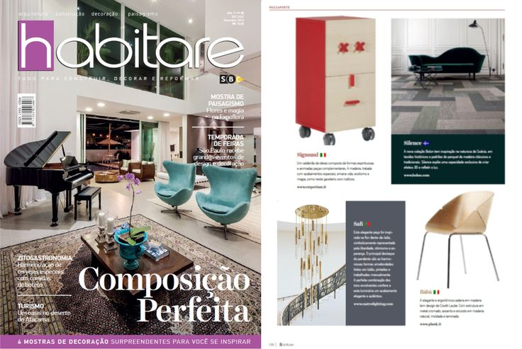 "The suspension of Safi collection by Castro Lighting is featured in September/October edition of brazilian magazine ""Habitare"""