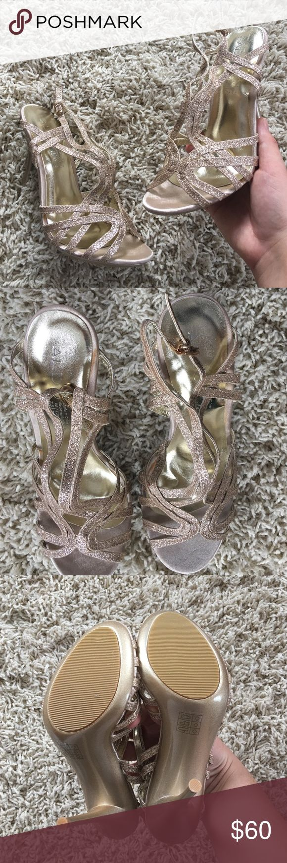 ALDO Champagne Gold Strappy Sandal NWOT. Size 7.5. True to size. BRAND NEW ALDO sparkly Strappy heels. Still has the little plastic thingy on the strap as when I got them. Gorgeous for prom, wedding, or night out! OFFERS ARE WELCOMED 😊 Aldo Shoes Heels