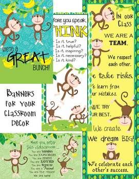 MONKEY classroom décor - JPEG images for banners Print at Vista Print.com and look on TPT store for instructions to get 50% off - cheaper than an ink cartridge for you home printer!
