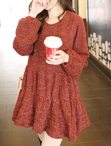 Red Wool Flounce Dress £18 Available On Our Website #winter #autumn