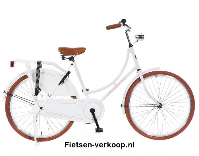 Omafiets parelmoer Wit 26 Inch | bestel gemakkelijk online op Fietsen-verkoop.nl