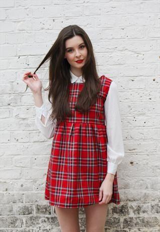 RED TARTAN PINAFORE SMOCK DRESS