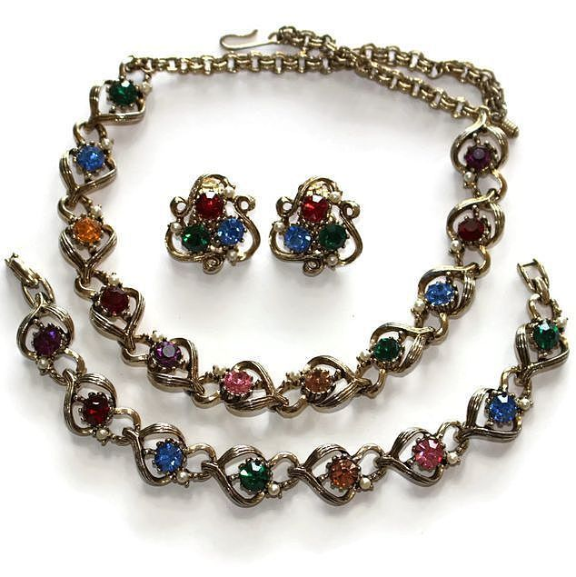 #1220a Rhinetsone Multi Coloured Necklace Earrings Bracelet Set Exclusively at Lee Caplan Vintage Collection on RubyLane