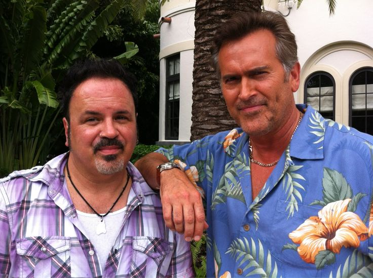 Paul Tei & Bruce Campbell on the set of Burn Notice