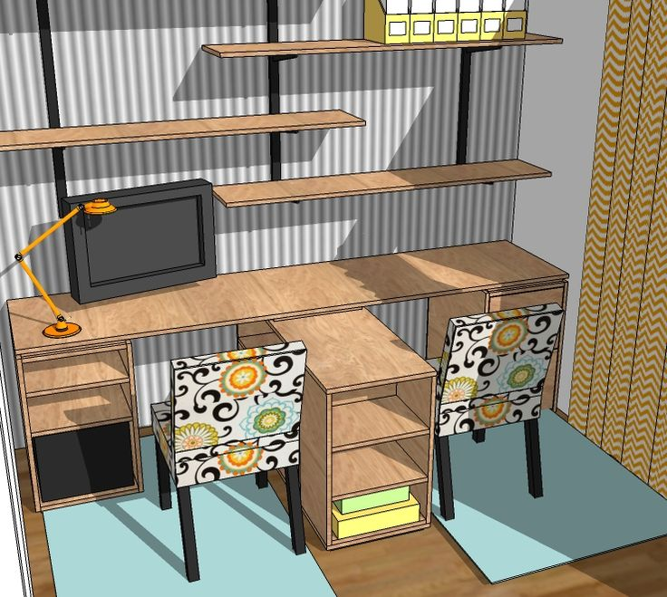 Easy Eco Modular Office Desk plans made with PureBond Plywood. By Ana WhiteDesks Area, Offices Desks, Diy Desk, The White, Offices Desktop, Eco Modular, Modular Offices, Purebond Plywood, Home Offices
