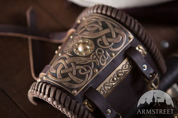 Embossed Leather Bracer Arm Guard (pair); Short Viking Bracers with Etched Brass; Viking Accessories
