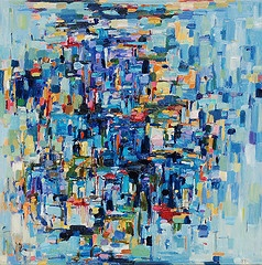 Bluehawaii abstract oil painting by Yangyang Pan. I really love the blues in this!