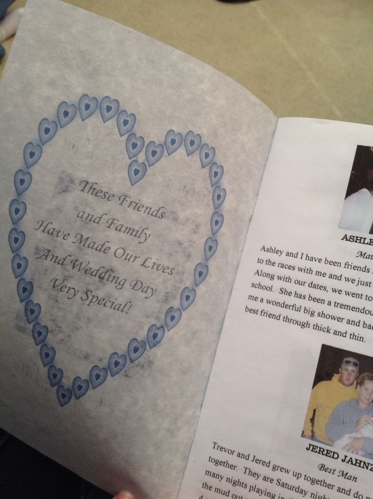 A wedding program with pictures of those involved in the wedding...fun idea!