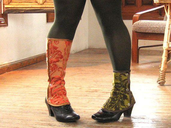 SALE Spats Waterproof victorian Low Boot Women steampunk one size spat damask brocade. €14.50, via Etsy.