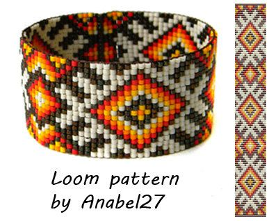Bead loom pattern Square stitch pattern ethnic por Anabel27shop