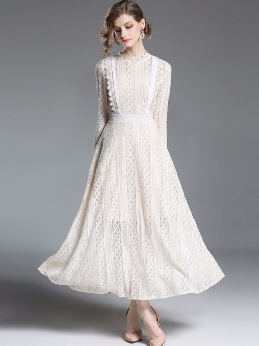 Vinfemass Retro Lace Solid Color Long Evening Dress