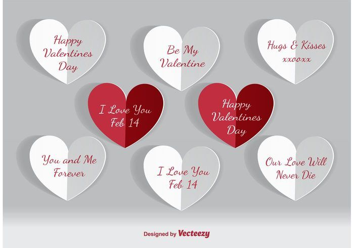 Free vector Valentines Day Paper Hearts #34550