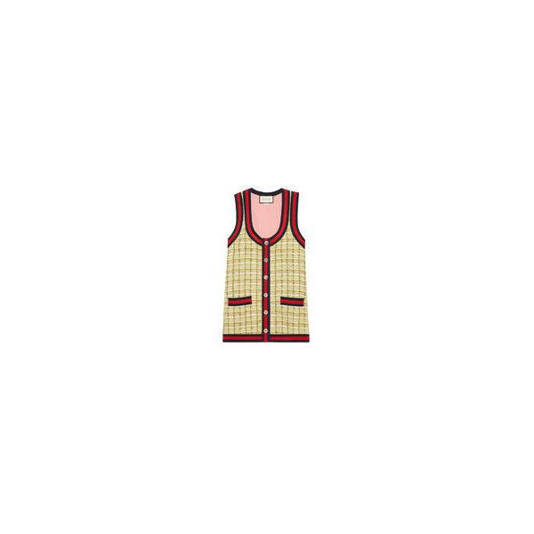 Gucci Tweed Oversize Vest (24.870 ARS) ❤ liked on Polyvore featuring outerwear, vests, gucci, beige vest, gucci vest, tweed vest and metallic vest