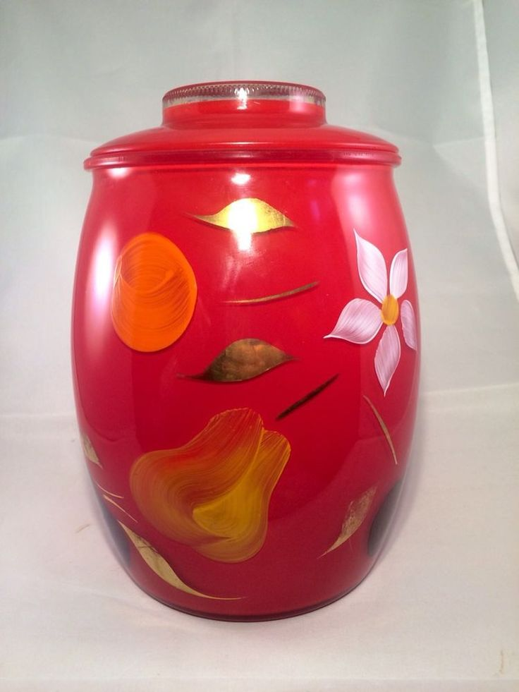 Red glass cookie jar home design