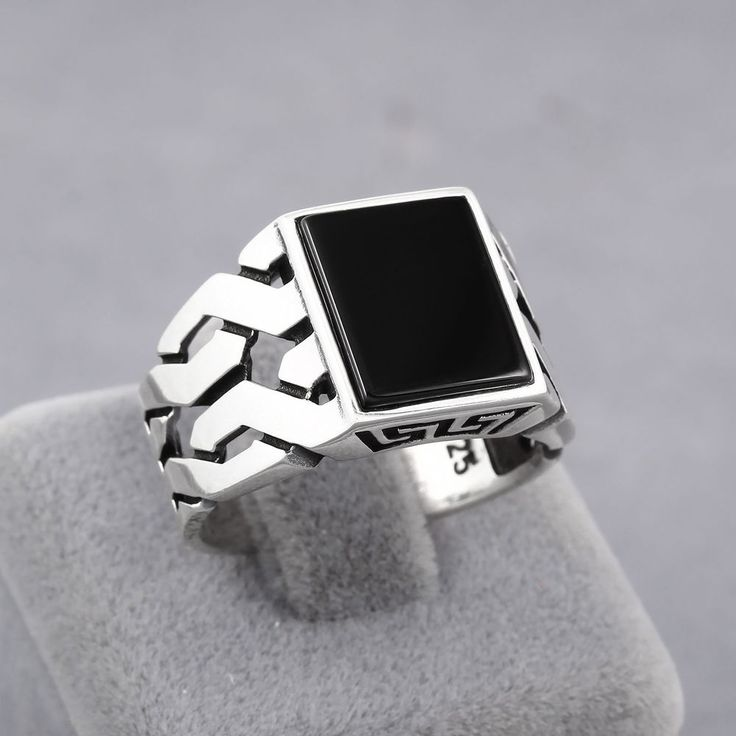Turkish Handmade Jewelry Black Onyx Stone 925 Sterling Silver Men's Ring (MR-43) #Handmade #Statement #mensring #mensrings #rings #menstyle #jewelry #necklace #luxury #malemodel #friends #hot #love #malemodels