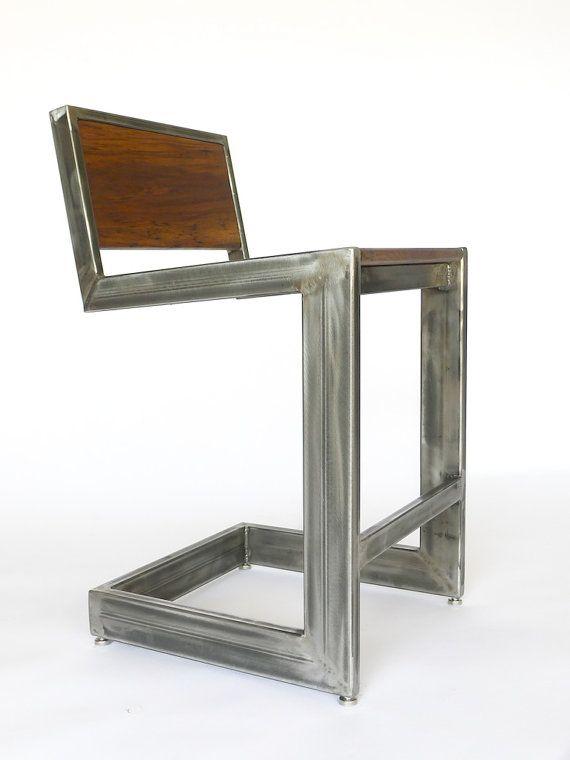 Archer Bar Stool Welded Frame Walnut Seat Mid century Art Deco Atomic Ranch Inspired