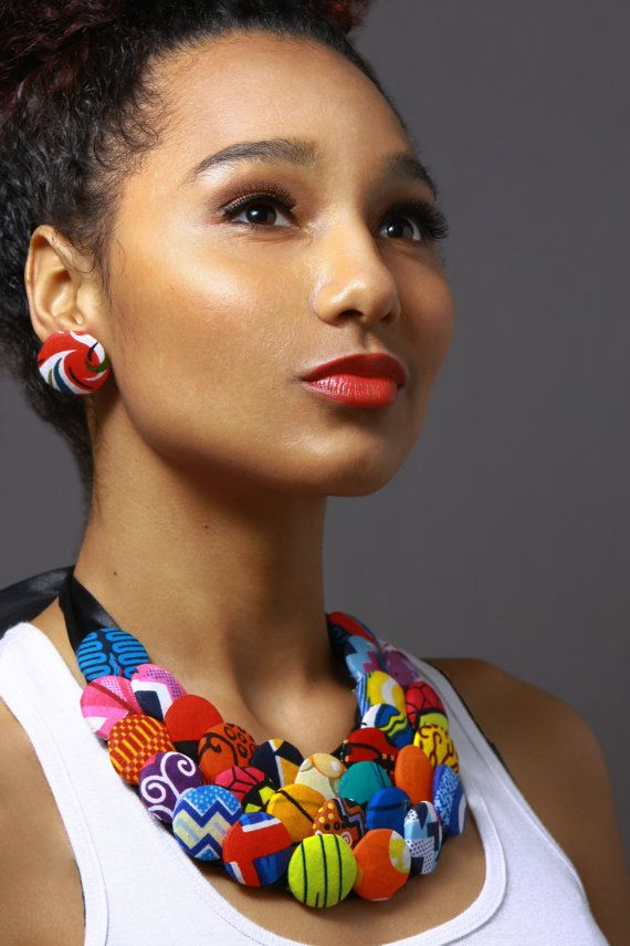 Multicolored Button Ankara Statement Neckpiece by AnkaraStatement, $40.00