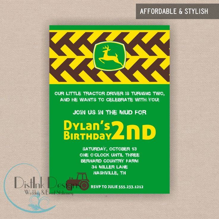 john deere party invitations 8 pack with envelopes - John Deere Party Invitations