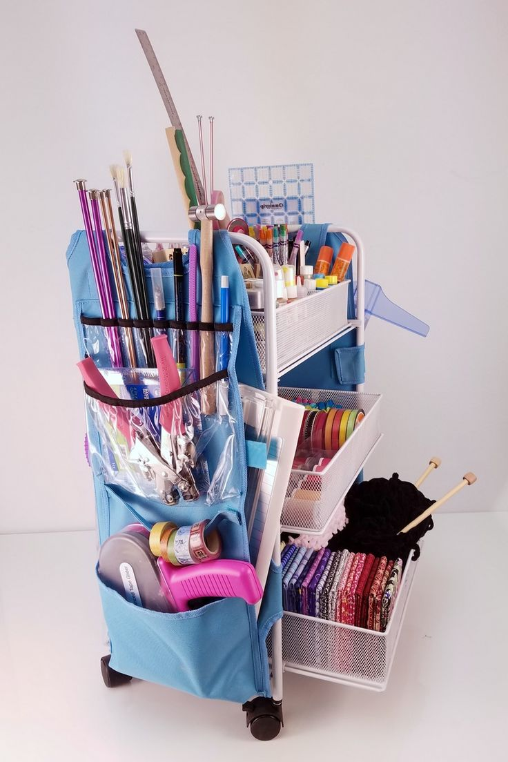 Scrapbook paper cart - Organize Craft Supplies In This Easy To Use 3 Basket Cart With Craft Apron
