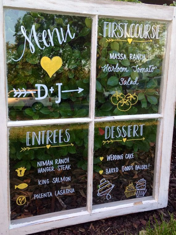 These are hand drawn calligraphy menu or seating charts on rustic window panes. These are a great addition to any outdoor or barn wedding!