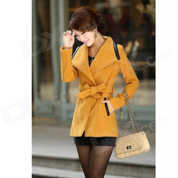 Fashionable Women's Slim Fit Lapel Coat - Ginger (Size-L)