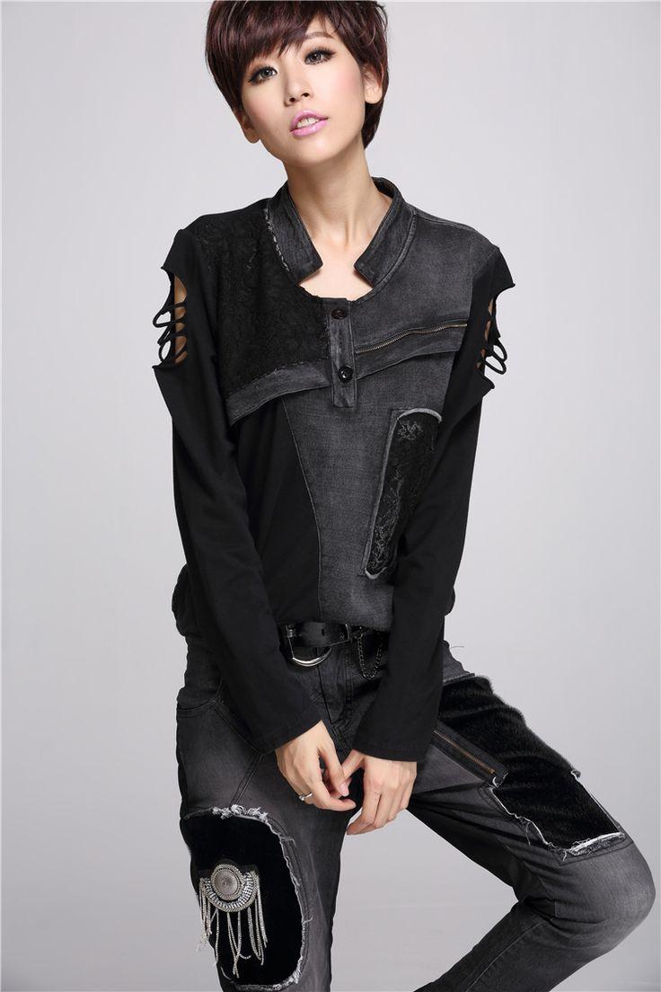 Уличная Мода Женщины Топы Выдалбливают Без Бретелек с длинными рукавами футболки Черный Плюс размер женская одежда Perfurado Mulheres Camiseta купить на AliExpress