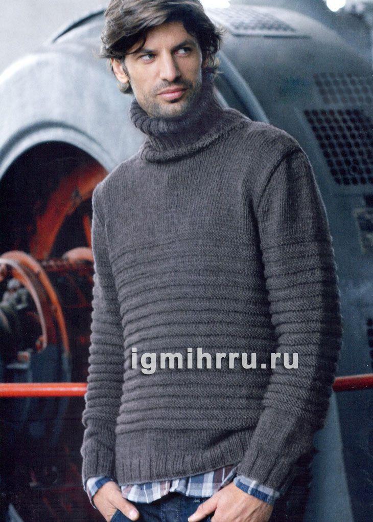 Повседневный мужской свитер из поперечной резинки. Вязание спицами для мужчин