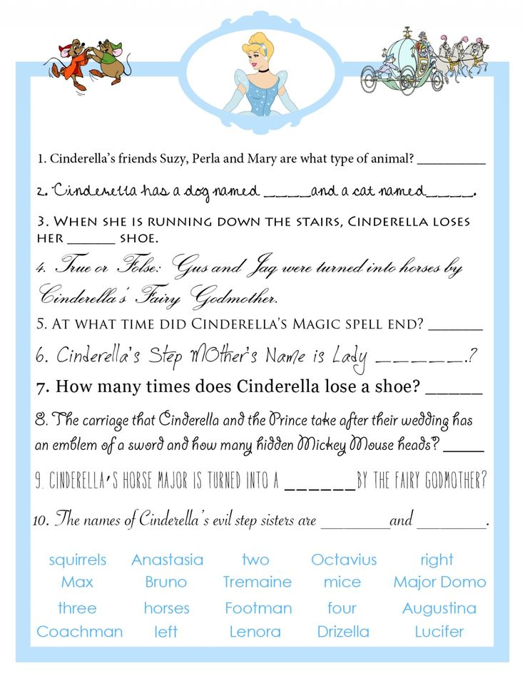 Cinderella Bridal Shower Trivia Game from Bibbidi Bobbidi Bride | http://www.bibbidibobbidibride.com/cinderella-bridal-shower-trivia-game/