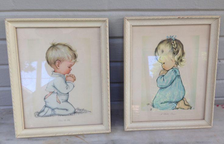 vintage Framed Prints (2) Bless us All & A Child's Prayer BY CHARLOT BYJ  Goebel  1950s by MotherMuse on Etsy