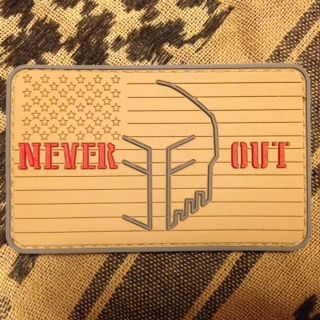 "Spartan helmet supported by the Navy SEAL motto of ""never being out of the fight"". Fly your US flag high and express your admiration for our Operators. Order at neveroutef@yahoo.com #neverout #spartan #molonlabe #navyseal #lonesurvivor #moralepatch #patch #glock"