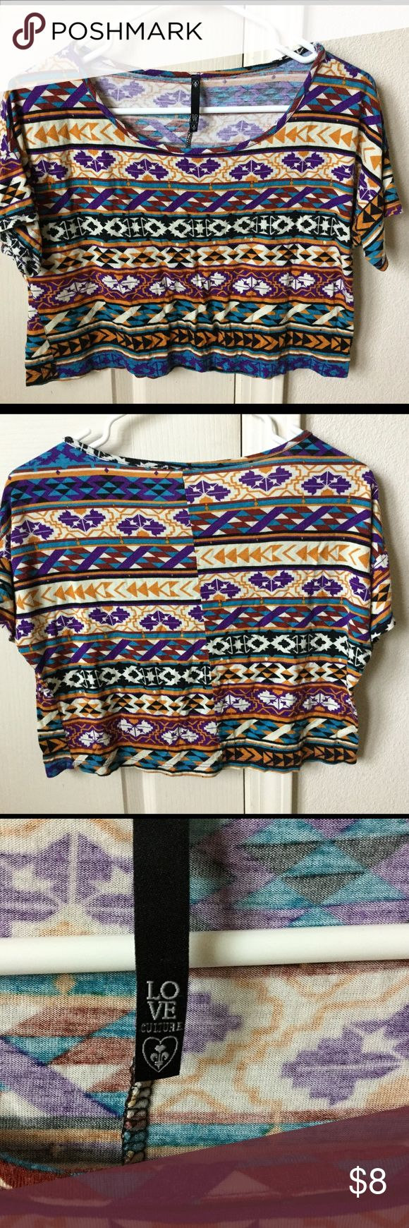 Love Culture Aztec Crop Top, Sz Med Love Culture Aztec Crop Top, Sz Med, No size tag on, non-smoking home, NO HOLDS, no visible stains or holes, Love Culture Tops Crop Tops