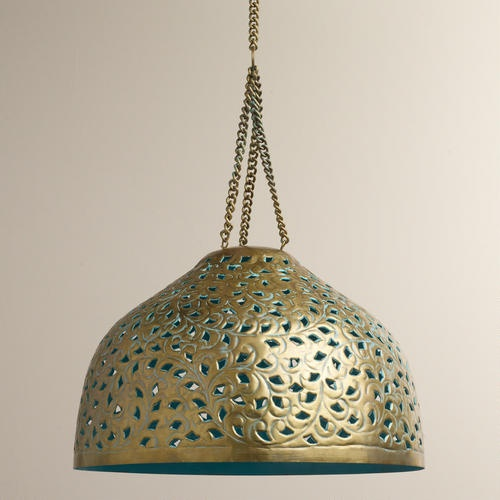 Would work for guest bath. Hammered copper sink. Turquoise accessories.    One of my favorite discoveries at WorldMarket.com: Desiree Metal Bell Pendant Lamp