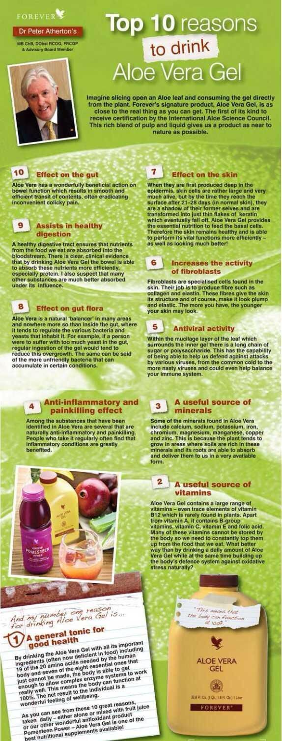 Dr. Peter Atherton's Top 10 reasons to drink Aloe Vera Gel Drinking the Gel has different effects for each person and is dependent on lifestyle also. Consistency is key when introducing anything into your routine.