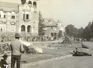 "Petrol bombing attack of the cricket pavilion at Boys High by members of the Ossewa Brandwag. This Day in History: Mar 4, 1939: The """"Ossewabrandwag"" is founded in South Africa http://dingeengoete.blogspot.com/ http://www.boyshigh.com/i/assets/history/26.jpg"
