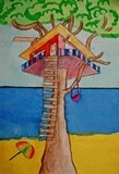 Artsonia Art Exhibit :: 2-Point Linear Perspective Treehouse The students were exposed to history of linear perspective in art. The treehouse, windows, and railings were made using the rules of 2-point perspective. Creativity then took over and the tree house of their dreams was designed using liquid watercolor and watercolor pencils.