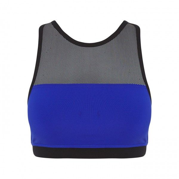 Blue mesh bra