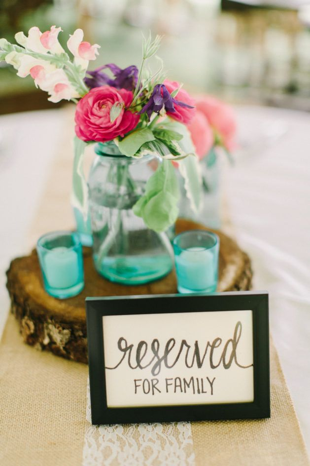 Reserved sign for family seating at wedding