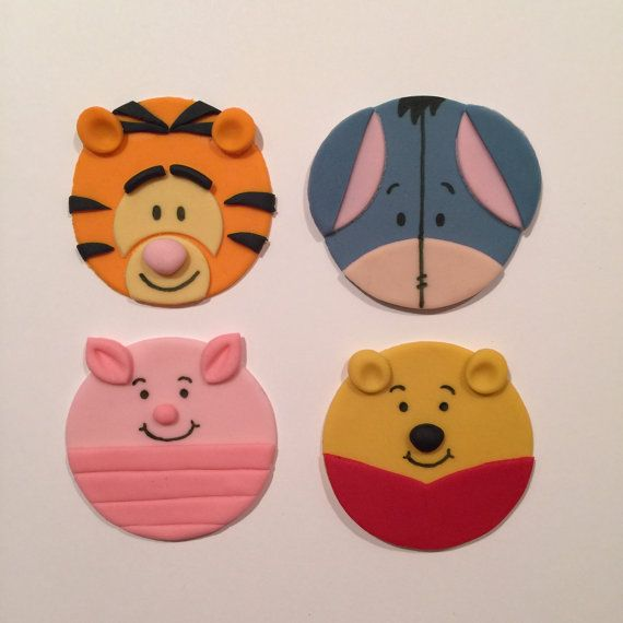 12 Winnie the Pooh Cupcake Toppers-Fondant by bakerslovebakery