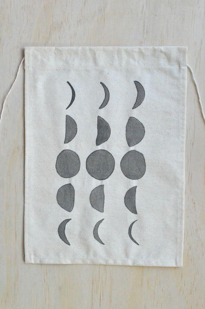 Moon Phase Hand Painted Textile Wall Hanging / Little Bubalishka